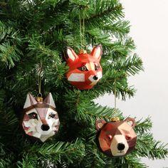 Boîte de 3 décorations animaux des bois géométriques - Toutes les décorations de Noël - Décorations de Noël - Noël