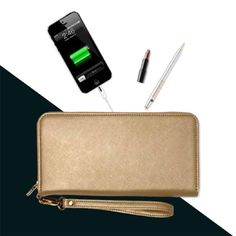 Gold Triple C CHARGING wallet This adorable wallet is the perfect size for daytime and nighttime. It has a hidden lightweight high capacity battery that recharges iPhones 6/5S/5/5C using the enclosed Apple certified lighting adapter and all micro-USB smartphones: Samsung, HTC, BlackBerry, LG and other Android devices.   There are 6 card slots, a card pocket, a zippered coin pocket, two dividers and a removable hand strap. Triple C Bags Clutches & Wristlets