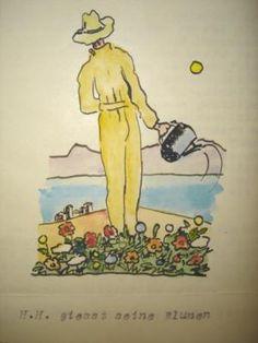 Hermann Hesse waters his flowers (watercolor painting of H.H.)