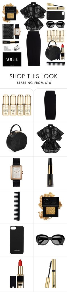 """""""Business lunch in London"""" by tenindvr ❤ liked on Polyvore featuring Dr. Sebagh, Rick Owens, BUwood, Topshop, Prada, Chanel, Hourglass Cosmetics, GHD, Forever 21 and Calvin Klein"""