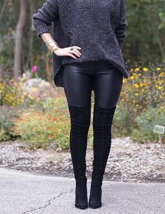 how to, what to wear, 3 ways to wear, pear shape, leather leggings, leather pants, leather trousers, black, casual style, casual outfit, everyday, weekend wear, over the knee boots, OTKB, oversized, knitwear, sweater, jumper
