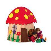 Fabric Mushroom-Shaped Playhouse with Two Entrances, Peekaboo Windows and Roomy Interior