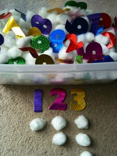 For the Love of Learning: Numbers & Counting Sensory Bin Numbers Preschool, Learning Numbers, Math Numbers, Preschool Math, Math Classroom, Kindergarten Math, Classroom Ideas, Number Activities, Sensory Activities