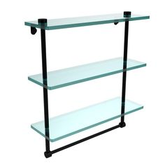 Allied Brass NS-2//16TB-SCH 16 Inch Two Tiered Glass Shelf with Integrated Towel Bar Satin Chrome