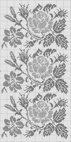A large rectangular tablecloth with rosesKira scheme crochet: Scheme crochet no. Cross Stitch Borders, Cross Stitch Flowers, Cross Stitch Designs, Cross Stitching, Cross Stitch Patterns, Crochet Bedspread Pattern, Crochet Curtains, Crochet Motif, Crochet Doilies