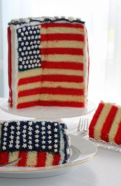 Stars and Stripes American Flag Layer Cake. Can you believe this cake? I am in awe. Bring me a piece and I'll give you a gold star:) Seriously:):)