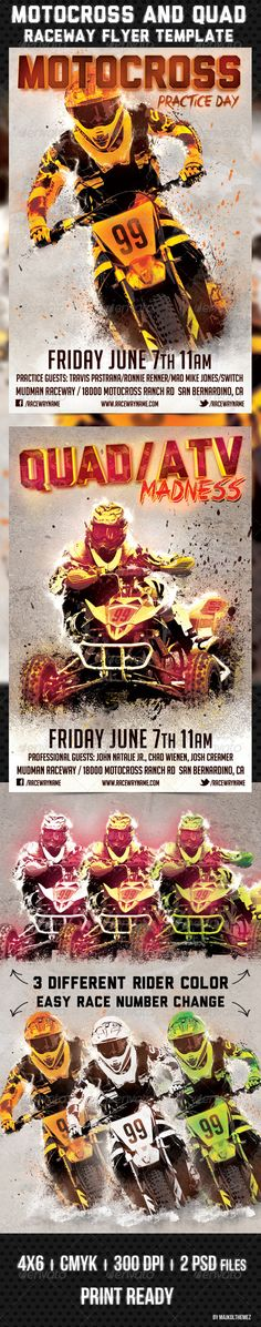 Motocross and Quad Raceway Flyer Template  Good way to promote your Motocross/Enduro/Supercross Race event/track/practice days or races. Tree different color rider with editable race numbers. Download from http://graphicriver.net/item/motocross-and-quad-raceway-flyer-template/4796858?ref=majkolthemez