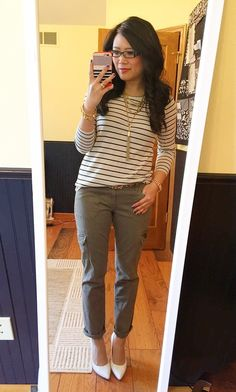 Striped tee, skinny cargo pants, white pumps