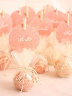 Cute idea for Valentine cake pops. Could use them as place cards or party favors.