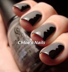 Awesome Idea. Using tape and decorative scissors to create your own nail design.