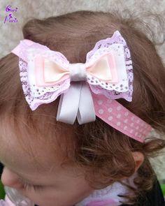 Baby headband CORI PARIS - large ribbons bow, pink model Bandeau cheveux bébé CORI PARIS - large noeud en rubans, modèle rose