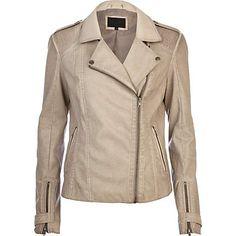 Beige over dye leather look biker jacket - coats / jackets - sale - women River Island €35