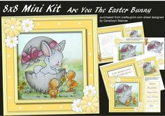 8x8 Mini kit , Are You The Easter Bunny,  by Ceredwyn Macrae A lovely Kit  to make and give to anyone can be used for birthday's or Easter , This kit consists of 4 sheets . shet 2, The front of the card and 6 greeting tags and a blank one ,  sheet 2, Decoupage,  sheet3, Incert with Verse, Small card or tag ,  sheet 4 Incert left blank for you to choose the Verse , Small card or Tag ,