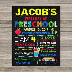 First Day of Preschool Chalkboard Back to School Chalkboard