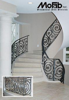 custom wrought iron art railings | art deco ironwork by mofab custom interior iron railing Staircase Railing Design, Wrought Iron Staircase, Staircase Handrail, Curved Staircase, Iron Railings, Bannister, Balcony Railing, Grand Staircase, Staircases