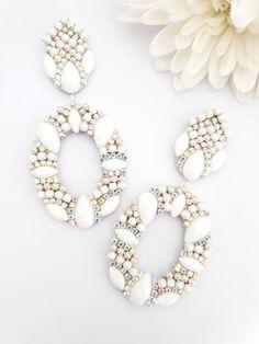 White Earrings, Tassel Earrings, Chandelier Earrings, Crystal Earrings, Etsy Earrings, Statement Earrings, Earrings Handmade, Handmade Jewelry, Bridesmaid Earrings