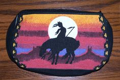 """A colorful 5x7"""" canvas makeup tote with the end of the trail theme. Zips close. $7.95 w/ free shipping w/in the USA  See other southwestern style purses & totes in our ebay store.. #tote #endoftrail #nativeamerican #totebag"""