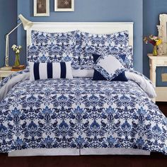 Tribeca Living Catalina Reversible Duvet Cover Set in Blue - Bed Bath & Beyond