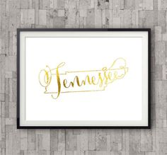 Tennessee State Map Print, Foil Art Print, Gold Foil, State Map Poster, Home Town State Map Print, Bedroom Wall Art, Poster