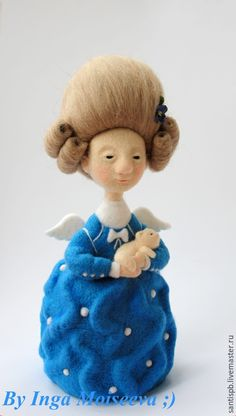Купить Кукла войлочная Счастье - синий, войлочная игрушка, валяная игрушка, кукла ручной работы