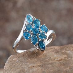 Malgache Neon Apatite Ring in Platinum Overlay Sterling Silver (Nickel Free)
