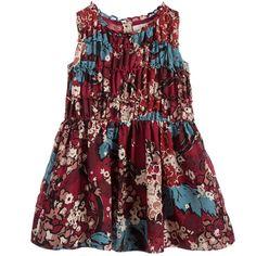 Burberry Burgundy Red Floral Print Silk & Cotton Dress