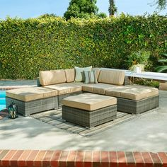 Ventana 4-piece Wicker Beige Lounge Set - Overstock™ Shopping - Big Discounts on Sofas, Chairs & Sectionals