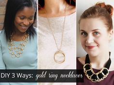 DIY 3 Ways: Gold Ring Necklaces by @Erin / Thanks, I Made It