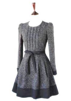 Grey Patchwork Bow Long Sleeve Elegant Cotton Mini Dress - Mini Dresses - Dresses