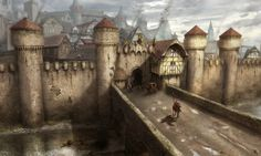Medieval Buildings And Towns For Concept Art Inspiration Fantasy City, Fantasy Castle, Fantasy Places, Fantasy Map, Medieval Fantasy, Fantasy World, Dark Fantasy, Fantasy Landscape, Landscape Art