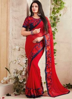 Red Embroidery Work Georgette Fancy Designer Sarees http://www.angelnx.com/Sarees/Designer-Sarees
