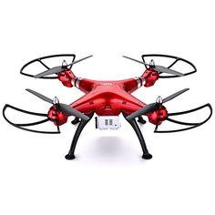 Syma X8HG - RTF Drone Cuadricóptero RC con 8.0MP cámara HD, Rojo (4 Canales 2.4GHz, 3D eversión, 6 Axis, mantenimiento de altitud, 1 pack de Floureon Hélices de regalo) - http://www.midronepro.com/producto/syma-x8hg-rtf-drone-cuadricoptero-rc-con-8-0mp-camara-hd-rojo-4-canales-2-4ghz-3d-eversion-6-axis-mantenimiento-de-altitud-1-pack-de-floureon-helices-de-regalo/
