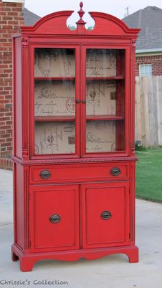This is the china cabinet I want! Pinkey Red china cabinet by Chrissie's Collection. Painted in General Finishes Red Pepper Refurbished Furniture, Paint Furniture, Repurposed Furniture, Furniture Projects, Furniture Making, Furniture Makeover, Red Painted Furniture, Refurbished Hutch, Colorful Furniture