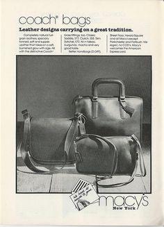 1979 COACH Bag Purse PHOTO Saddle Clutch Slim Satchel MACYS NY Vintage PRINT Ad #CoachLeatherware