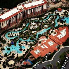 Aerial view of River Island and the lazy river.