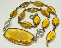 Yellow Citrine Carved Art Deco Necklace