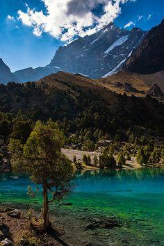 Turquoise Alauddin Lake, Tajikistan. PeacePal will be working with Tajikistan in the coming program year!