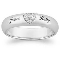 Top-Engraved Sterling Silver Pave CZ Heart Promise Name Ring