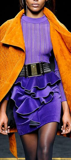 Purple Love, Orange And Purple, Orange Color, Yellow, Fashion Art, High Fashion, Orange Is The New, Holiday Outfits, Color Combinations