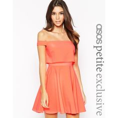 ASOS PETITE Skater Dress With Bardot Top In Crepe ($18) ❤ liked on Polyvore featuring dresses, coral, layered dress, asos, red layered dress, asos dresses and red skater dress