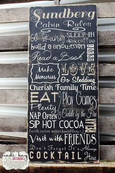 MadiKayDesigns is AMAZING!!!!!!!  LOVE LOVE LOVE my sign....... CABIN RULES 18x36 ($164.99) Personalized Cabin Rules Subway Sign....  MadiKayDesigns is the best!!