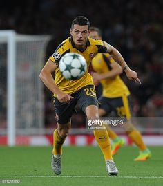 Granit Xhaka of Arsenal during the UEFA Champions League match between Arsenal FC and FC Basel 1893 at Emirates Stadium on September 28 2016 in...