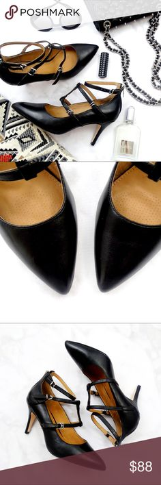 """Black Leather Pointed Toe Cage Heels Details: * Size 7.5 * Black leather * Adjustable straps * Back zip * Silver hardware * 3.25"""" heel * New in box 05281710 Corso Como Shoes Heels"""