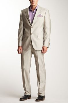 Joseph Abboud Tan Sharkskin Suit