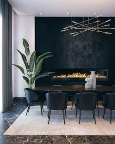 Dining Room Walls, Dining Room Design, Dining Room Wallpaper, Dining Room Fireplace, Contemporary Dining Room Lighting, Modern Lighting, Lighting Ideas, Lighting Design, Contemporary Kitchens