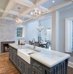 Love this countertop! Quartzite Sea Pearl - white and gray