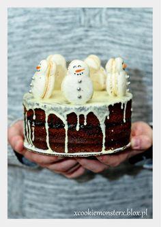 Piernik świąteczny z bałwankami  #macarons #macaron #święta #christmas #bałwanki #bałwanek #snowman #piernik #pierniczki #gingerbread #holidays #snow #tasty #chocolate #czekolada Macaroni, Desserts, Food, Tailgate Desserts, Macaroons, Deserts, Essen, Postres, Meals