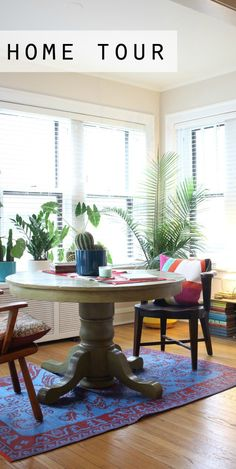 Check out this eclectic condo from Blogger Mara, of Design Evolving. Christie and Josef's home uses neutral walls and bright pops of color in her living room to create a modern bohemian look. See how you can imitate this fun and funky design scheme in your home today.