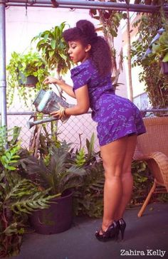 What a cute gardener. :) Part of the Neo-Pinup Series.  Check the lovely Alfre out at http://letthemeatpancakes.tumblr.com/  MUAH, wardrobe styling & photography by me.  -ZK  http://kellysdolls.com  [image description: native american pin up, native pin up, polynesian  pin up, african american pin up, afrolatina pin up, black pin up, latina pin up]