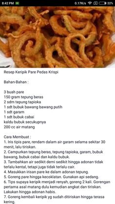 Kripik pare spicy Asian Desserts, Asian Recipes, Quiche Recipes, Cake Recipes, Roti Canai Recipe, Cooking Time, Cooking Recipes, Indonesian Food, Yummy Cakes